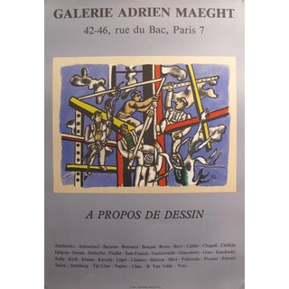 "1985 French Exhibition Poster - ""A Propos De Dessin"" by Fernand Leger - Galerie Adrien Maeght For Sale"