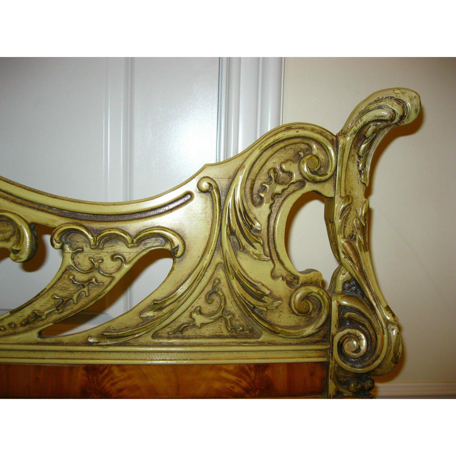 1950s Antique Bed Frame Stewartstown Furniture ~ French Louis XVl Rococo  Style Ornate Headboard For Sale