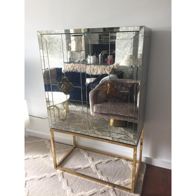 Silver Mid-Century Modern Jonathan Adler Delphine Mirrored Bar For Sale - Image 8 of 8