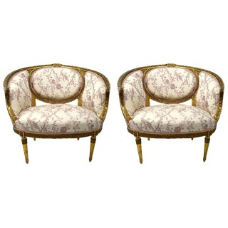 Pair of Gilt Salon Chairs For Sale