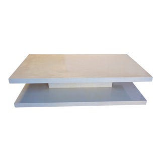 Modern Two Tiered Faux Alabaster Coffee Table For Sale