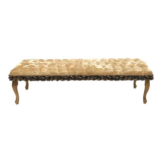 Vintage Tufted Window Bench With Queen Anne Legs For Sale