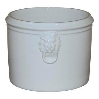 1930s Vintage Bassanello Italian Porcelain Lion Head Cachepot For Sale