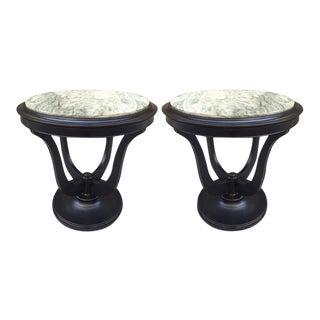 Pair of Hollywood Regency Marble-Top Tables