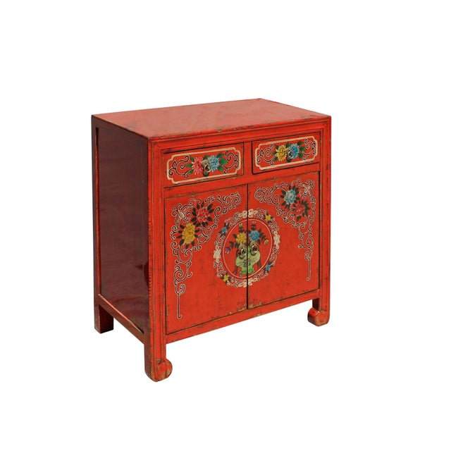 Asian Chinese Distressed Orange Red Flower Graphic Table Cabinet For Sale - Image 3 of 8