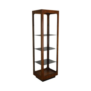 Lane Mid Century Modern Walnut Etagere With Smoked Glass Shelves For Sale