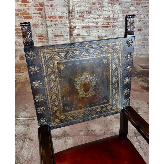 Brown Spanish Renaissance Carved & Embossed Leather Side Chair For Sale - Image 8 of 10