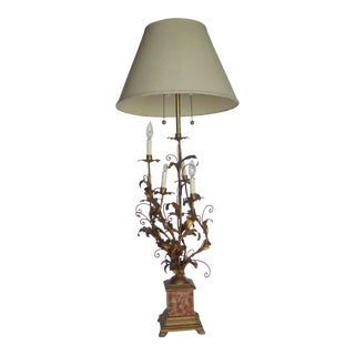 2 Light Italian Monumental Gold Leaf Table Lamp For Sale