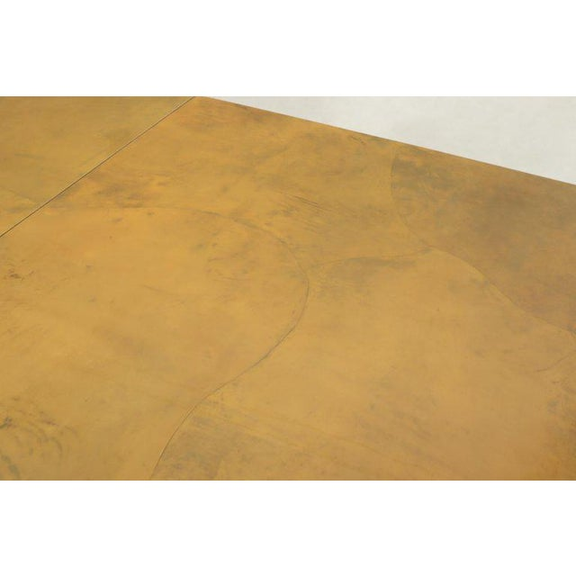 Lacqured Goat Skin Parchment Square Flip Top Dining Table For Sale - Image 9 of 13