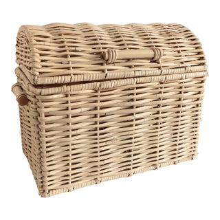 Cream Wicker Treasure Chest For Sale