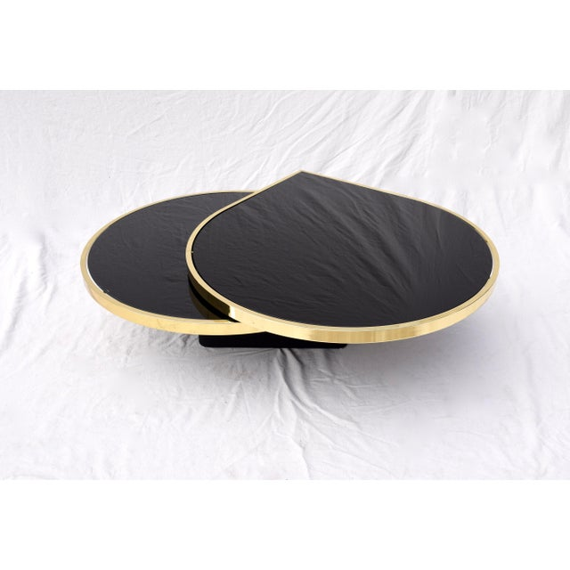1980s Swivel Brass & Black Glass Cocktail Table by Design Institute of America For Sale - Image 5 of 13