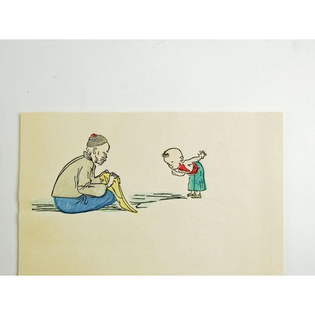 1920s 1920s Chinese Block Print on Stationary For Sale - Image 5 of 6