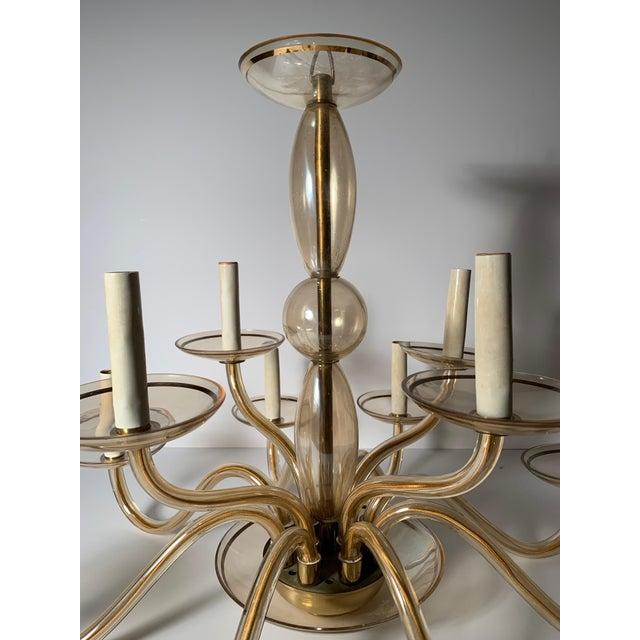 Hollywood Regency Vintage Bohemian Crystal Murano Chandelier For Sale - Image 3 of 10