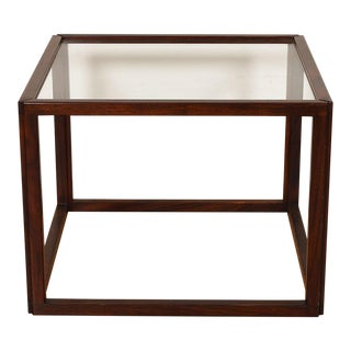 Danish Modern Rosewood & Glass Cube Table For Sale