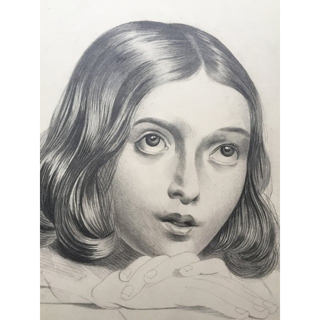 French pencil-drawing portrait of a young girl from a group of drawings dated circa 1847. Unframed.