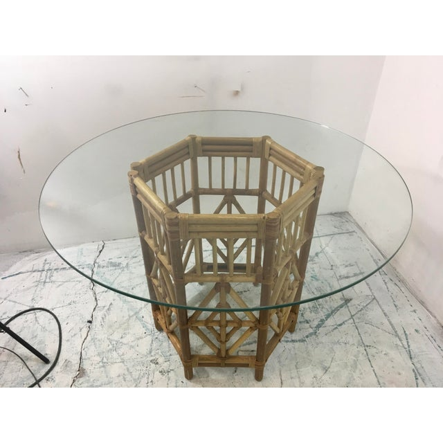 Boho Chic Rattan Consoles or Center Table - A Pair For Sale - Image 3 of 5