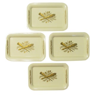 Mid-Century French Tole Hors d'Oeuvres Trays, Set of 4 For Sale