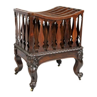 American Rococo Revival Rosewood Canterbury For Sale