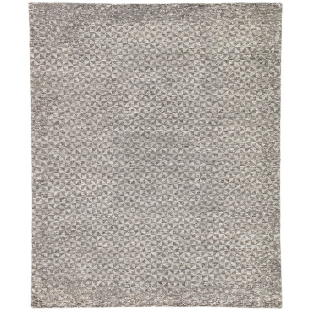 Jaipur Living Zaid Hand-Knotted Geometric Dark Gray / Ivory Area Rug - 8′ × 10′ For Sale In Atlanta - Image 6 of 6