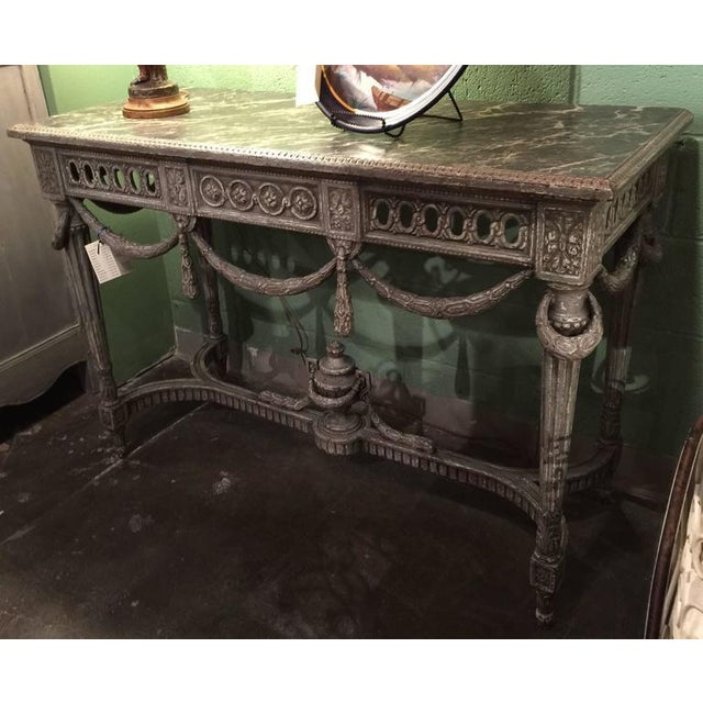 Pair of antique painted Louis XVI consoles tables with faux marble top from France, circa 1870; beautiful wood carving...
