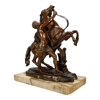 Late 19th Century Bronze Sculpture of Rearing Horse and Rider For Sale