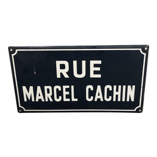 French Rue Marcel Cachin Blue Street Sign For Sale