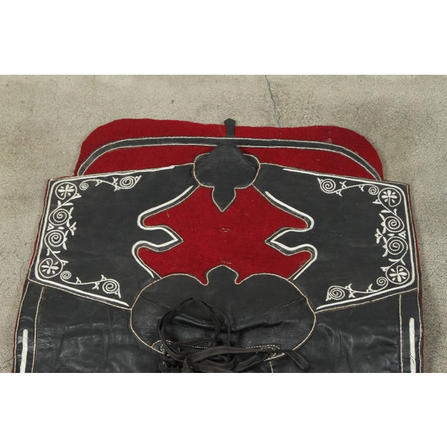 Mid 20th Century Moroccan Horse Saddle Blanket Black and Red For Sale - Image 5 of 10