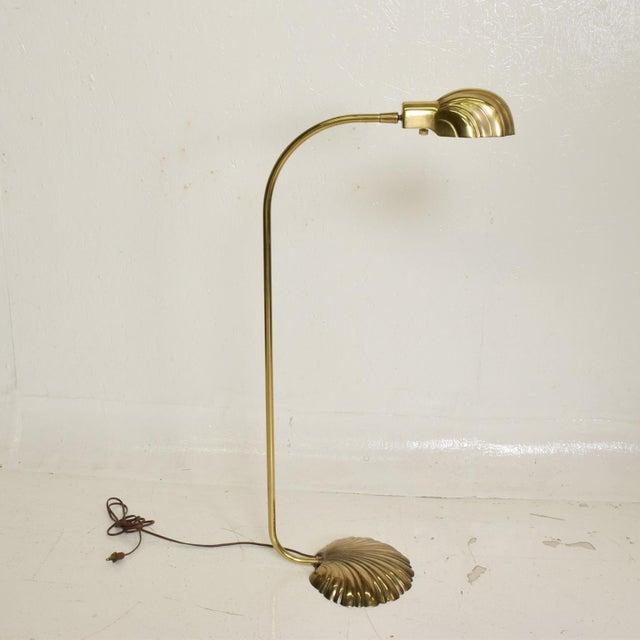 Mid Century Modern Pharmacy Reading Floor Lamp Brass Seashell Shape For Sale - Image 10 of 11
