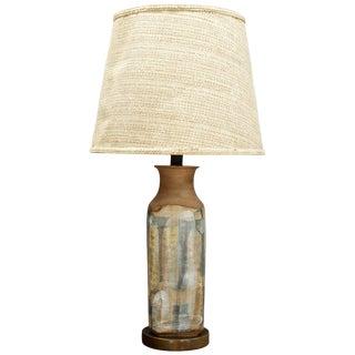 Monumental Brent Bennett Studio Pottery Lamp Walnut Vintage Mid-Century For Sale