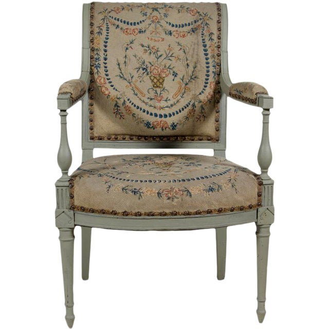 19th Century Painted Open Arm Chair For Sale