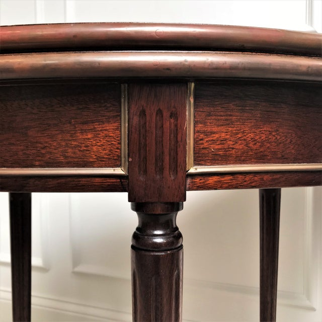19th Century Louis XVI Revival Mahogany & Brass Demi Lune Console Table For Sale - Image 11 of 13