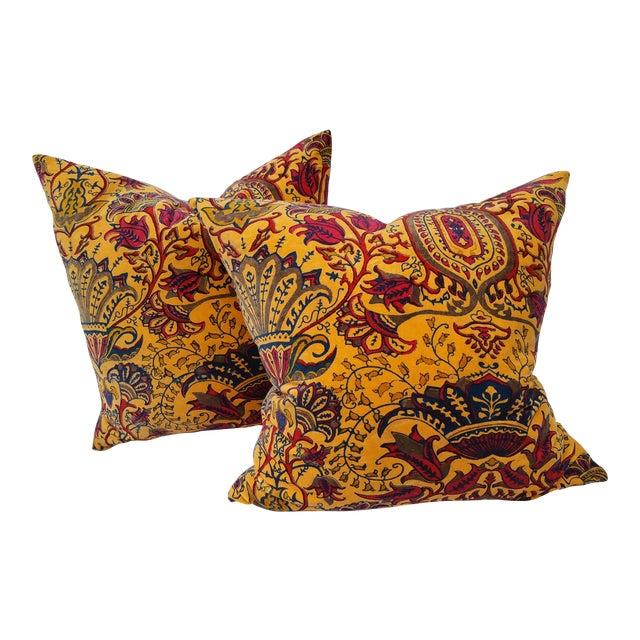 Vibrant Golden Yellow Velvet Pillows - A Pair For Sale