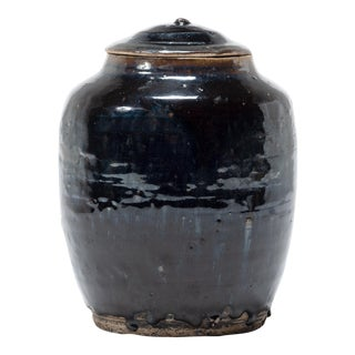 Chinese Glazed Pantry Jar With Lid For Sale