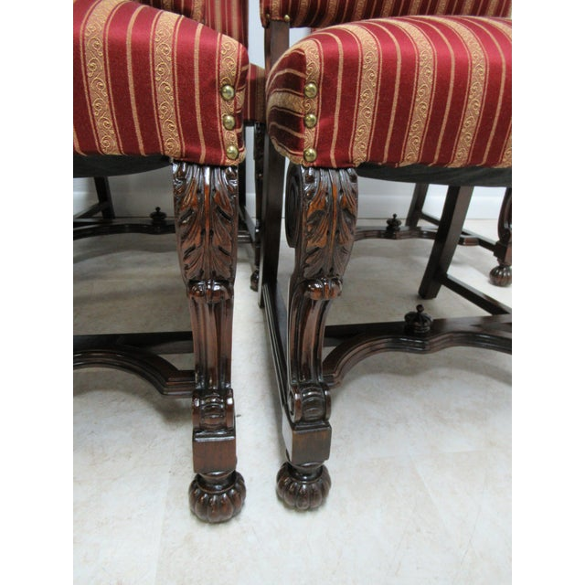 1930s Antique Berkey Gay French Empire Walnut Dining Room Arm Chairs - Set of 6 For Sale - Image 5 of 12