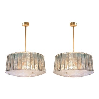 Pair of Mid Century Modern Light Green Glass & Brass Chandeliers, Attr to Gio Ponti, by Fontana Arte