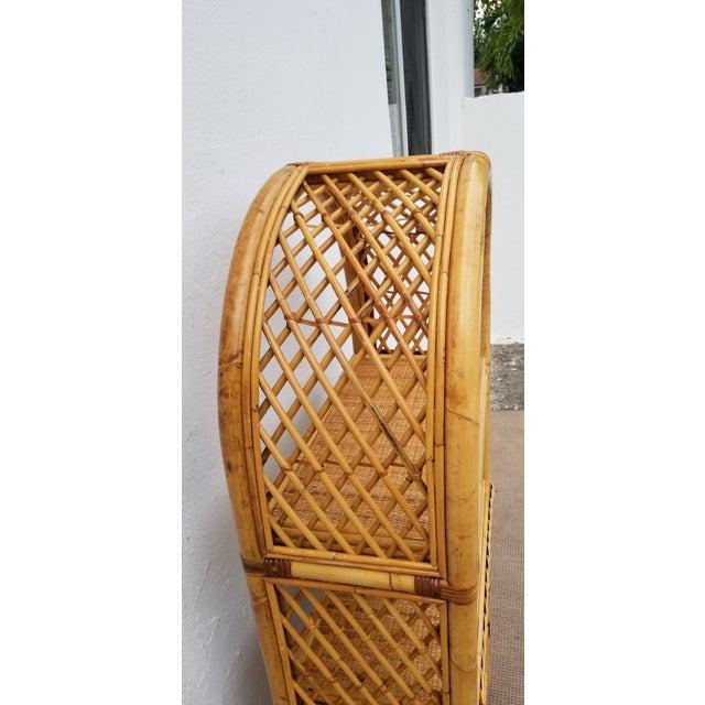 Wood Vintage Boho Chic Bamboo Rattan Etagere Bookshelf For Sale - Image 7 of 10