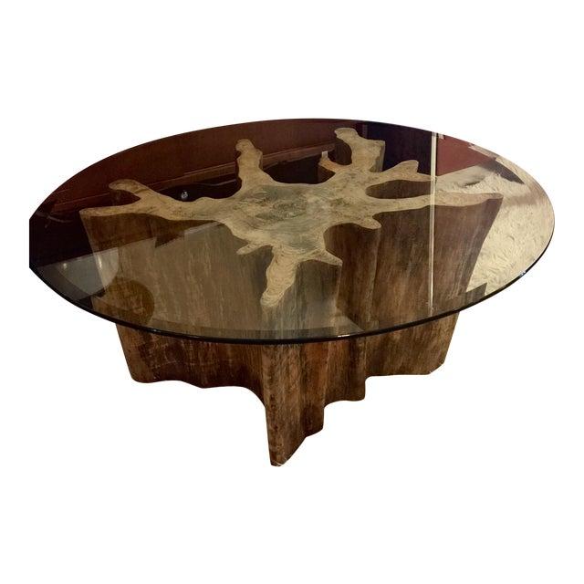 Vintage Cypress Wood Coffee Table - Image 1 of 9