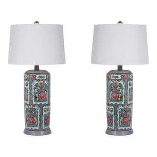 1950's Pair of Porcelain Table Lamps For Sale