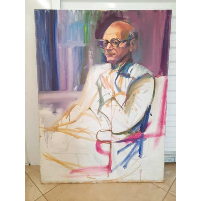 Portraiture Barbara Yeterian Man in Glasses Painting For Sale - Image 3 of 3
