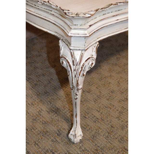 Vintage Carved Mahogany Shabby Cottage Chic Cocktail Table For Sale - Image 11 of 13