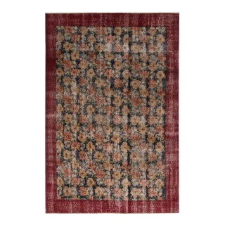 1950s Vintage Mid Century Wine Red and Black Wool Rug-5′1″ × 7′8″ For Sale
