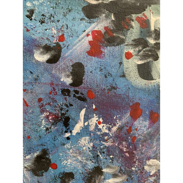 Lovely abstract expressionist painting in a palette of blue, red, black, and white. Acrylic on stretched canvas. Unframed....