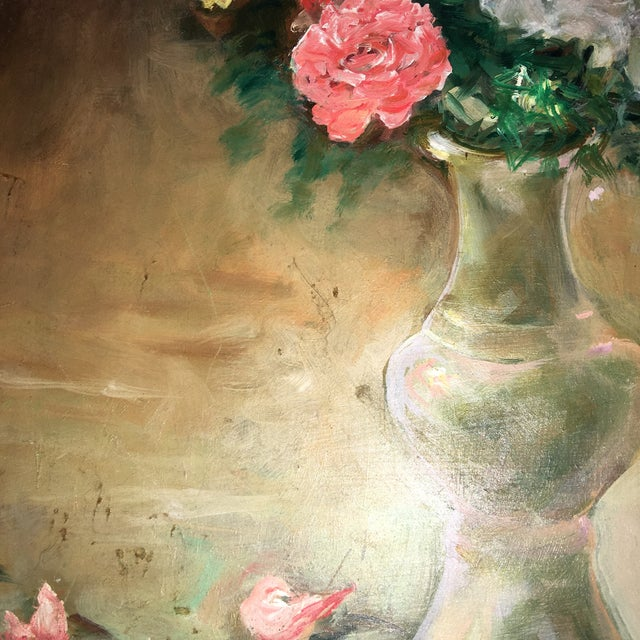 Green Flower Vase Oil Painting on Board For Sale - Image 8 of 9