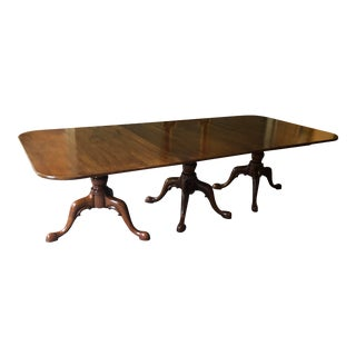 1950s Traditional Long Triple Pedestal Dining Table For Sale