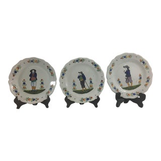 Quimper Plates With Men- Set of 3