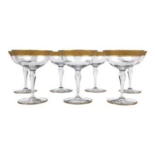 Vintage Hollywood Regency Gold Rim Champagne Coupes – Set of 7 For Sale