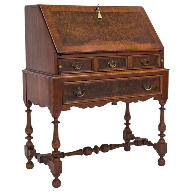1920s Burled Slant Top Desk w/ Key - 1920s Burled Slant Top Desk W/ Key Chairish