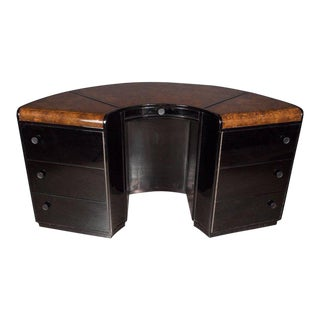 American Art Deco Book-Matched Burled Carpathian Elm and Black Lacquer Desk For Sale