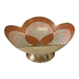 Vintage Orange Cloisonné Brass Lotus Shaped Bowl For Sale