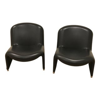 "1970s Vintage Giancarlo Piretti ""Alky"" Leather Chairs - A Pair For Sale"
